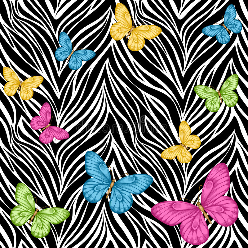 Seamless background. butterflies on animal zebra abstract print.Œ. Beautiful seamless background. butterflies on animal zebra abstract print. Perfect for stock illustration