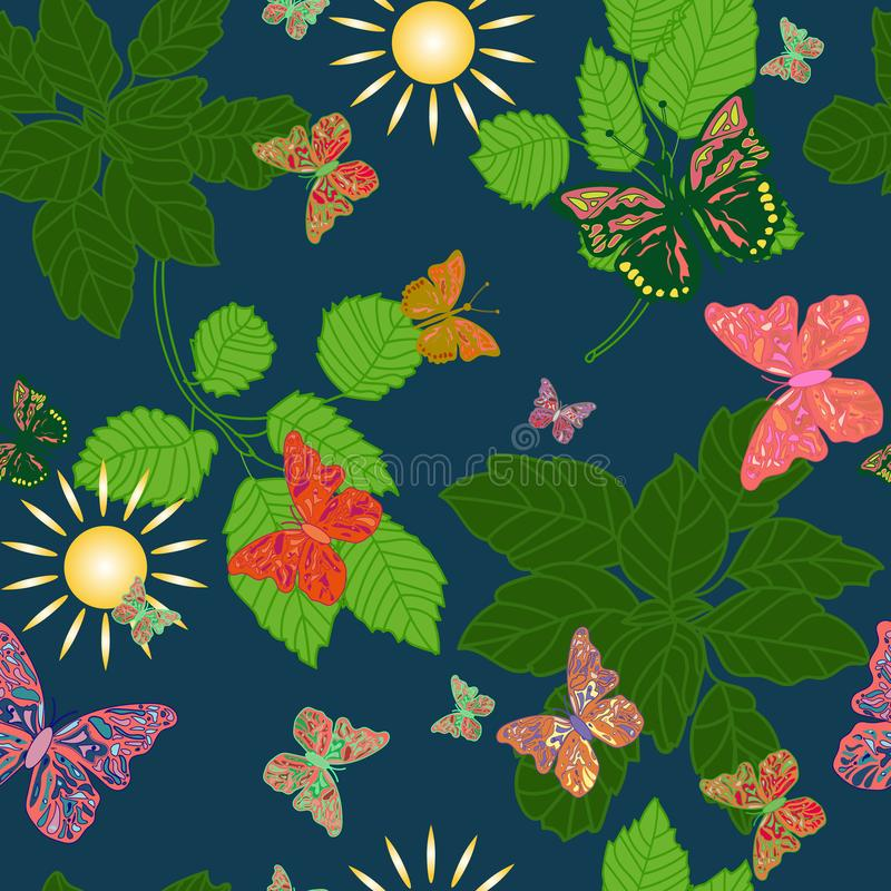 Seamless background of butterflies in a forest stock illustration