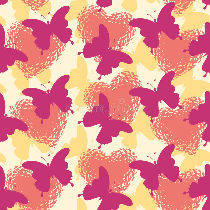 Seamless background, butterflies and hearts vector illustration