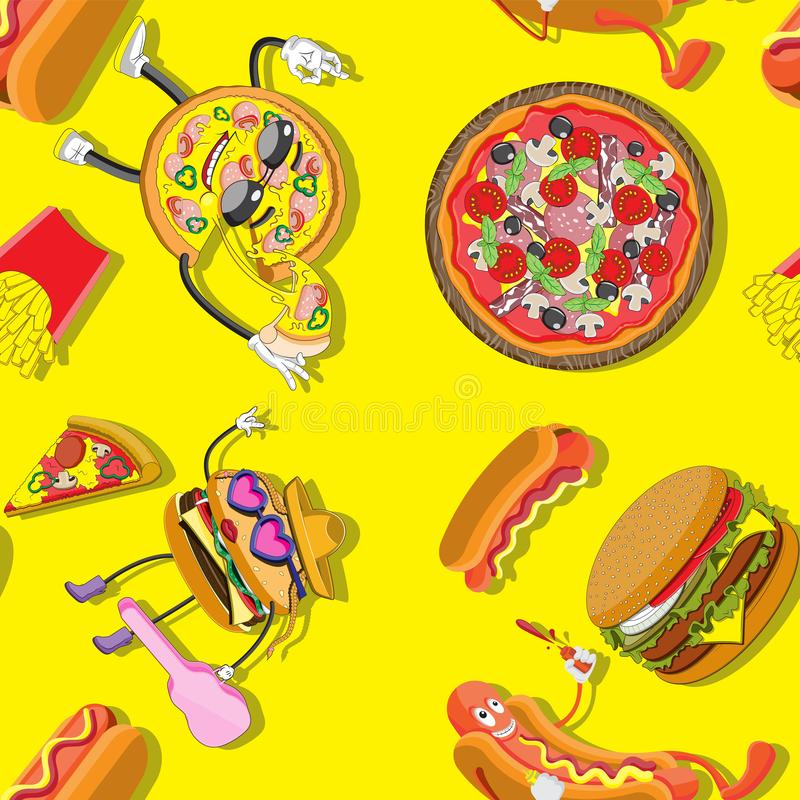 Seamless background of cartoon characters and food Burger hot dog pizza French fries. Print textile paper. Vector image. Eps 10 stock illustration