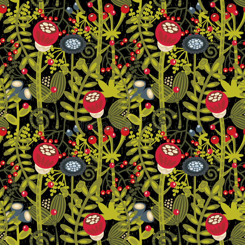 Seamless background with cartoon flowers.