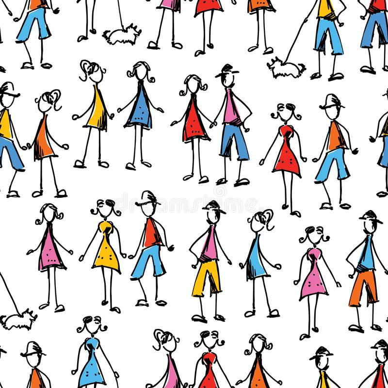 Pattern of people doodles vector illustration