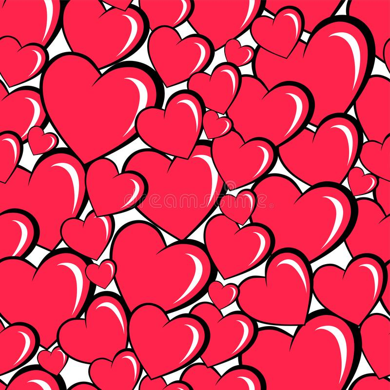 seamless background with cartoon hearts stock illustration