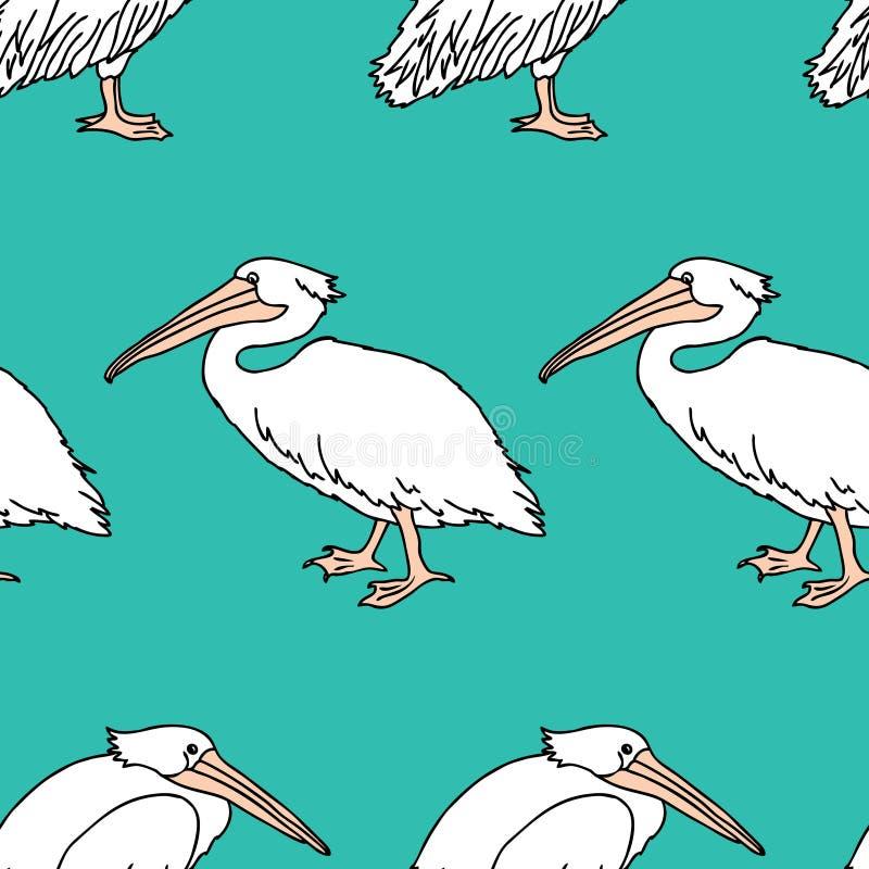 Seamless background of cartoon pelicans vector illustration