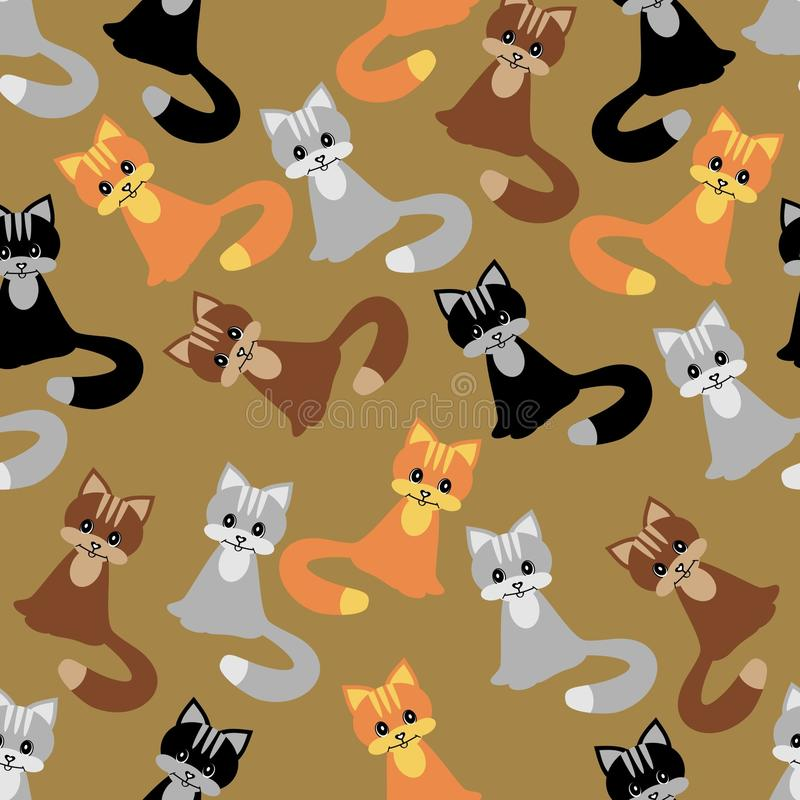Seamless background with cats vector illustration