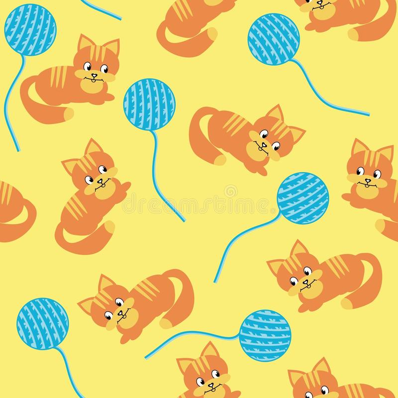 Seamless background with cats and clews stock illustration
