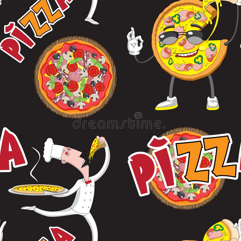 Seamless background of a chef pizza slice of pizza letters on a black background. Printing cloth textile paper. Vector image. Eps 10 vector illustration