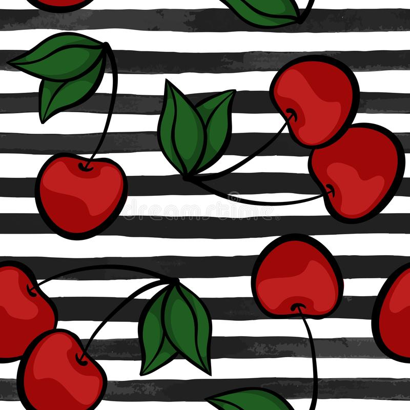 Seamless background with cherry on black and white watercolor stripes . design for holiday greeting card and invitation of seasona royalty free illustration