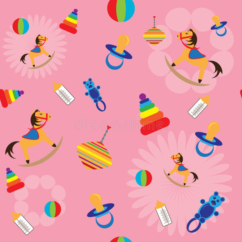 Seamless Background With Child Toys Stock Photography