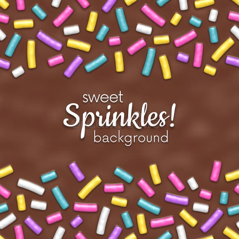 Seamless background of chocolate donut glaze with decorative sprinkles royalty free illustration