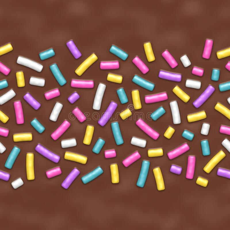 Seamless background of chocolate donut glaze with many decorative sprinkles royalty free illustration