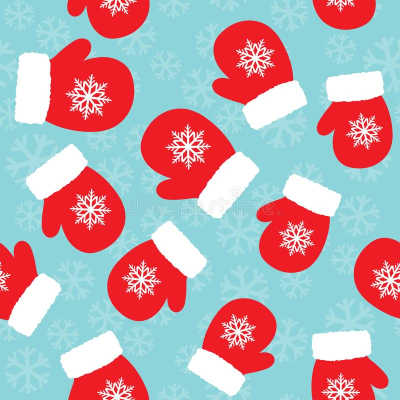 Christmas pattern with mittens vector illustration