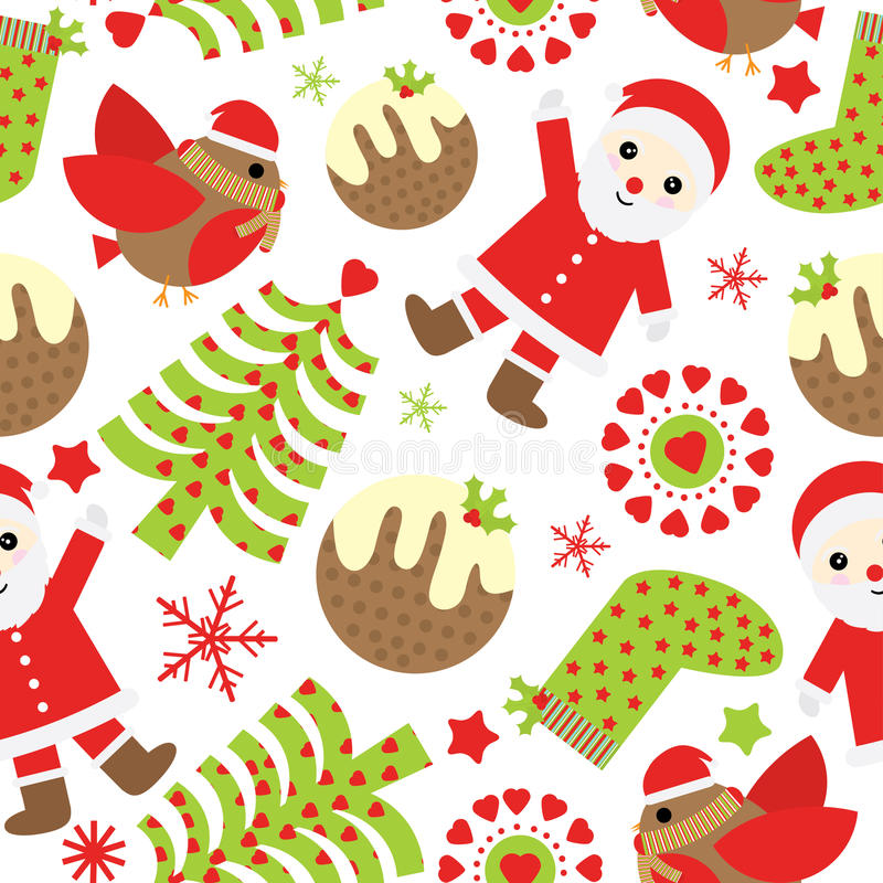 Seamless background of Christmas illustration with cute Santa Claus, bird, and Xmas ornaments suitable for Xmas scrap paper stock illustration