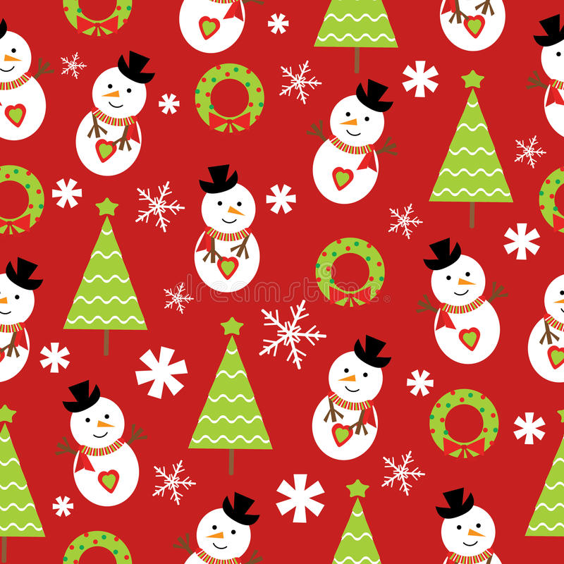 seamless background christmas illustration cute snowman xmas tree red background suitable wallpaper scrap 80621459