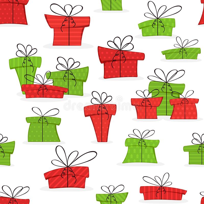 Seamless Background with Christmas Presents vector illustration