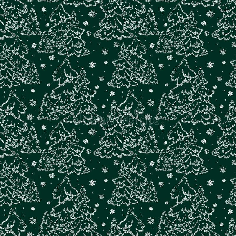 Seamless background of christmas trees vector illustration