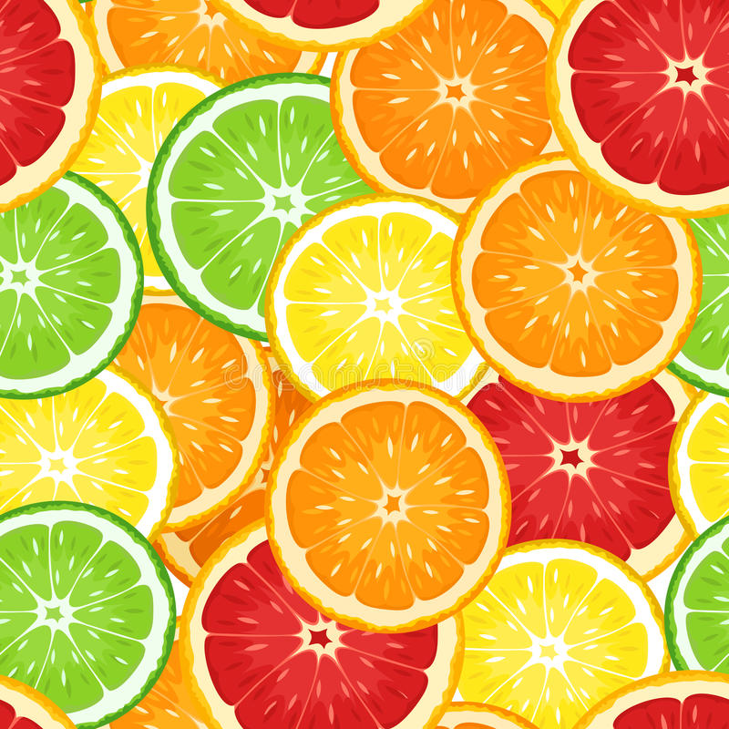 Vector Seamless background with citrus fruits. Vector Illustration of seamless background with oranges, lemons, limes and grapefruits vector illustration