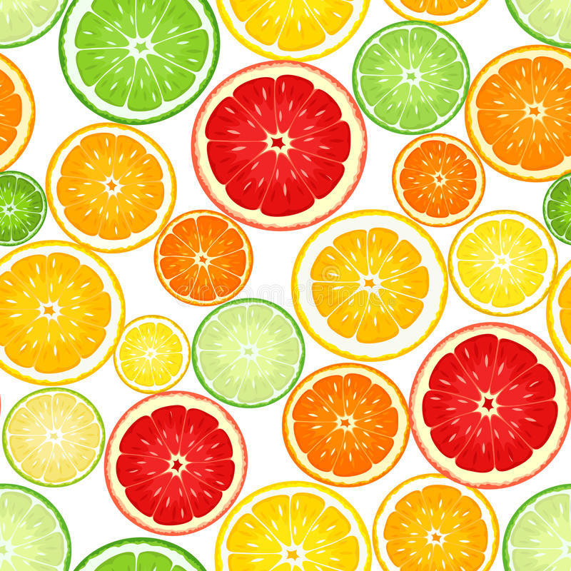 Seamless background with citrus fruits. Seamless background with slices of various citrus fruits on white vector illustration