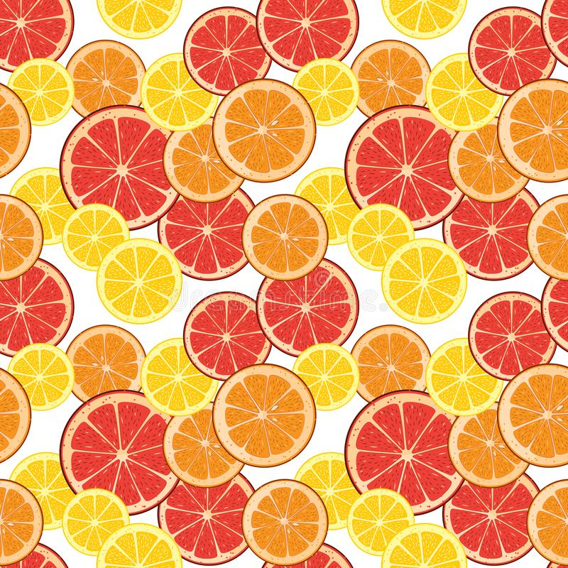 Seamless background with citrus slices. Tile fruit vector illustrated pattern. Repeating wrapping paper texture. royalty free illustration