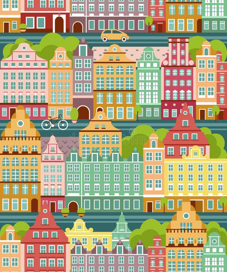 Seamless background with city landscape stock illustration
