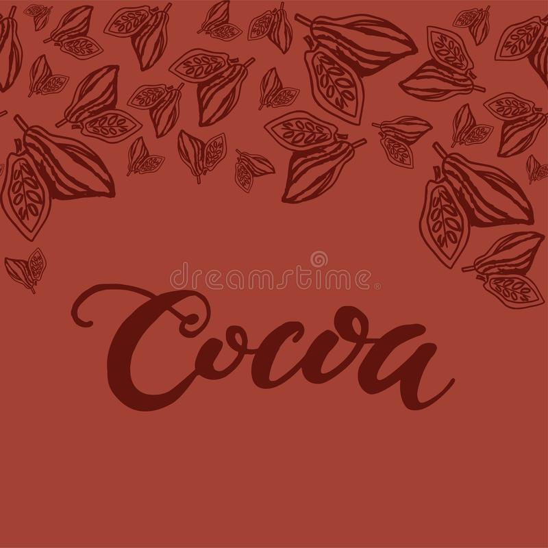 Seamless background with cocoa beans. Cute doodle illustration. royalty free illustration