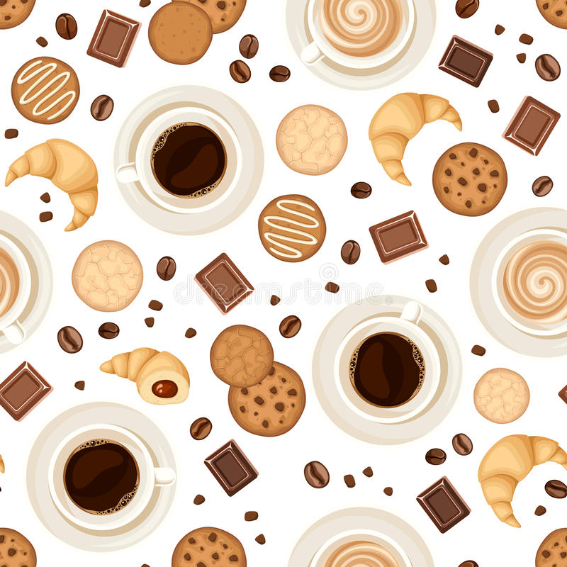 Seamless background with coffee cups, beans, cookies, croissants and chocolate. Vector illustration. vector illustration
