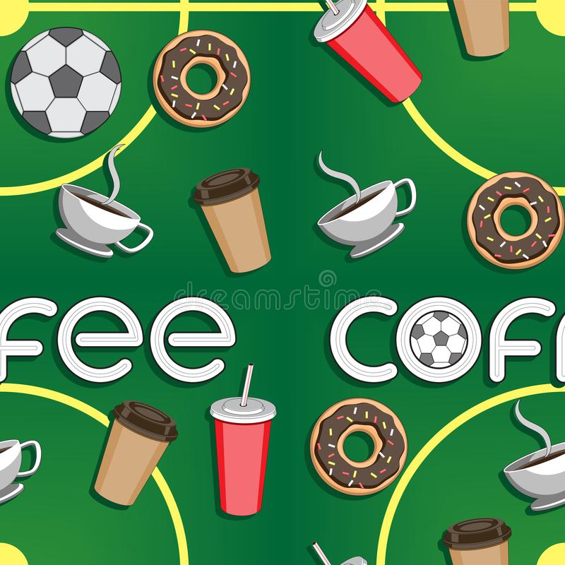 Seamless background of coffee soccer ball Cup the stadium, the letters a doughnut. Vector image. Esp 10 vector illustration