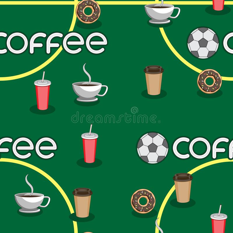 Seamless background of coffee soccer ball Cup the text field, the letters a doughnut. Vector image. Esp 10 vector illustration
