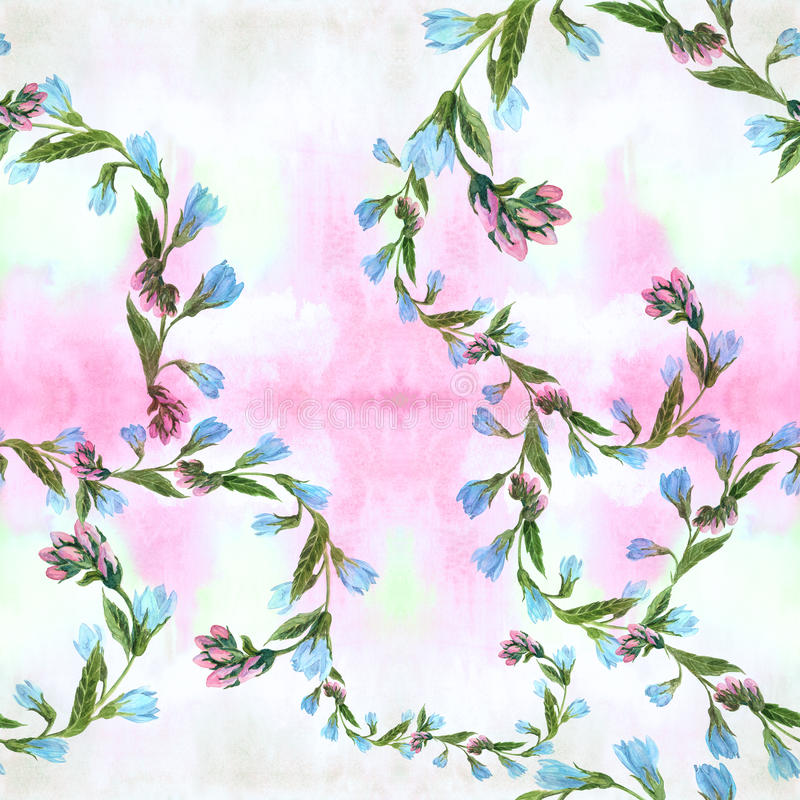 Seamless background. Collage of flowers and leaves on a on watercolor background. Watercolor. Wallpaper. Use printed materials, signs, posters, postcards vector illustration