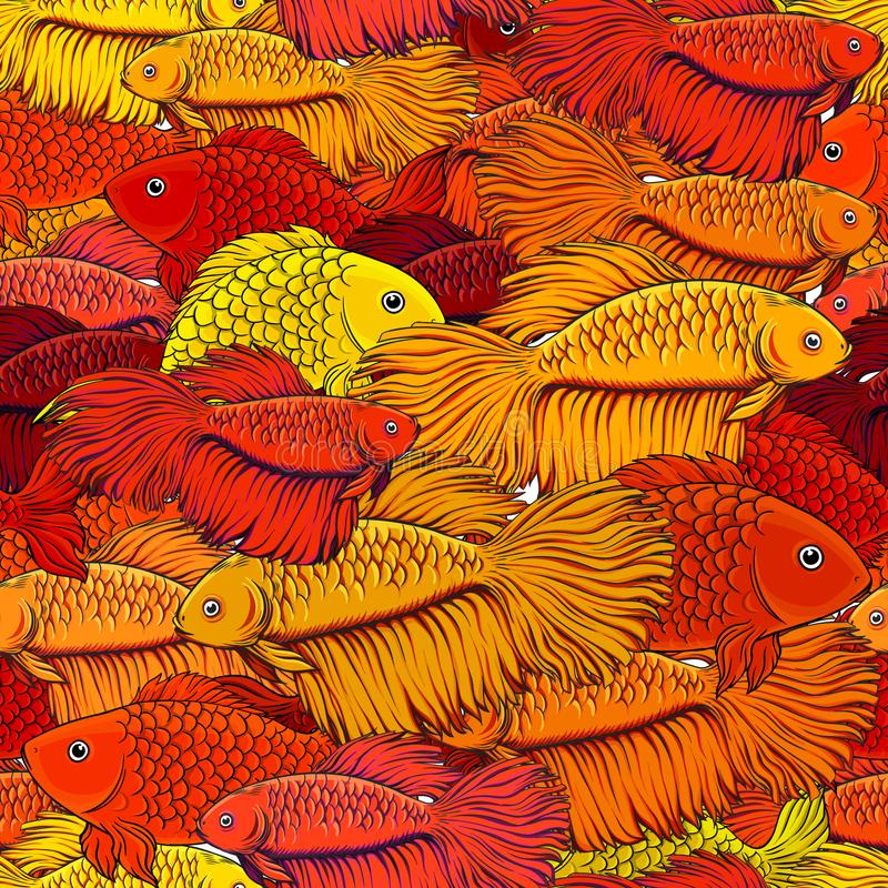 Pattern with red fish royalty free illustration