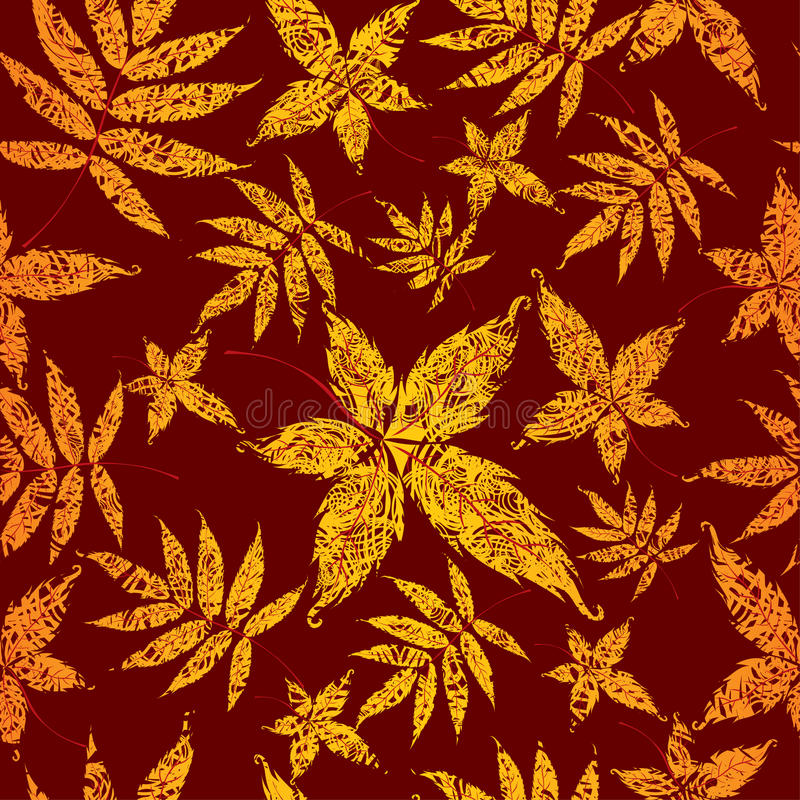 Seamless Background with colorful Autumn Leas. vector illustration