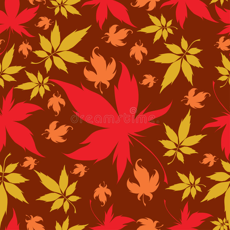 Seamless Background with colorful Autumn Leaves stock illustration