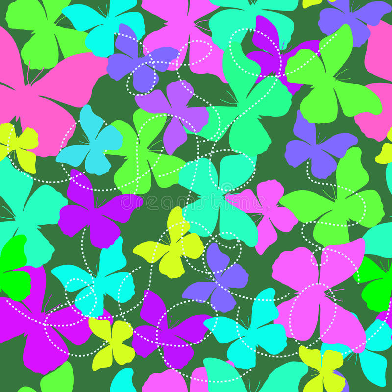 Seamless background with colorful butterflies - Illustration royalty free stock image