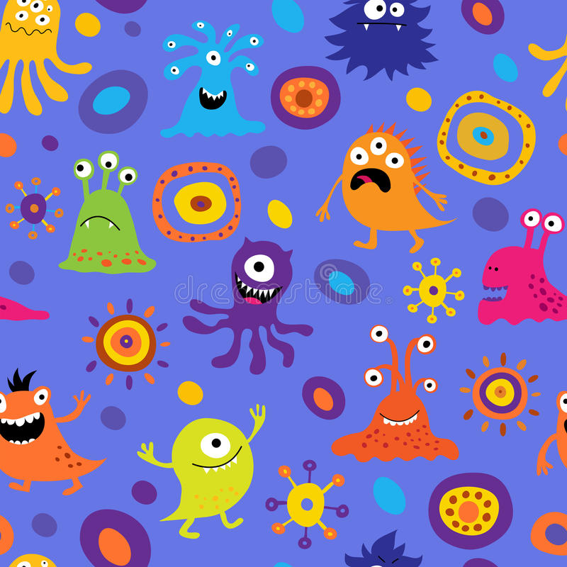 Seamless background with colorful monsters vector illustration
