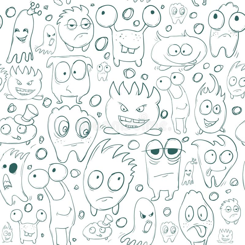 Seamless background contour funny monsters for Halloween holiday or your design. It can be used childrens books with fairy tales. Seamless background contour royalty free illustration