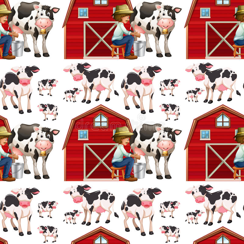 Seamless background with cows and farmers royalty free illustration
