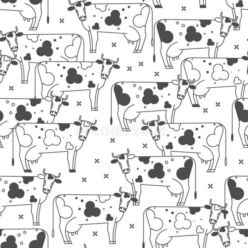 Seamless background with cows. Black and white graphic illustration. Seamless background with cows. Linear black and white vector illustration stock illustration