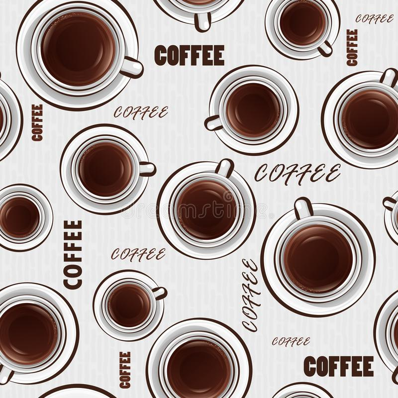 Seamless background with cups of coffee and text. Vector pattern on the coffee theme. Can be used as wallpaper or wrapping paper. vector illustration