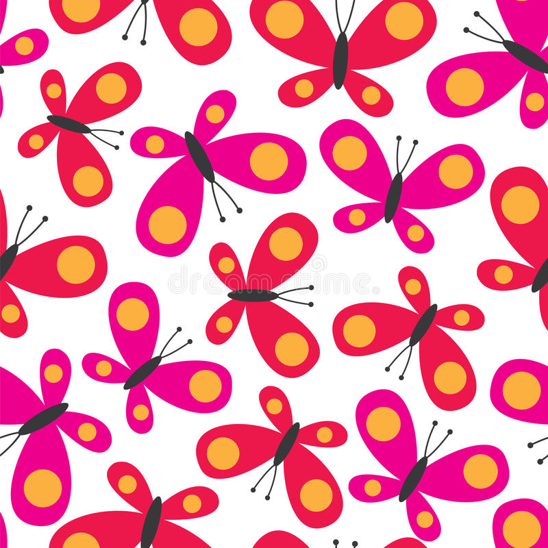 Seamless background with cute butterfly design vector stock photo