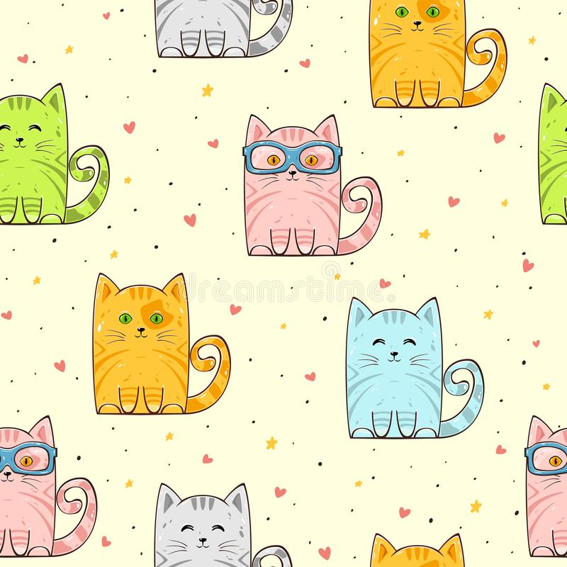 Seamless background with cute cats and hearts stock illustration