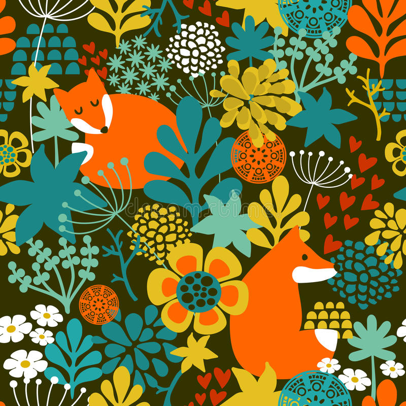SeamLess background with cute night fox in the vector illustration