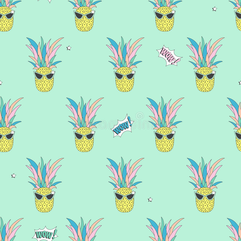 Download Seamless Background With Cute Pineapple Stock Vector