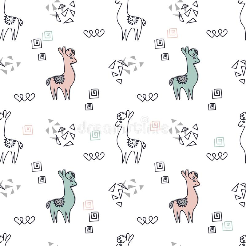 Seamless background. Cute pink and blue llamas or alpacas on a white background stock illustration
