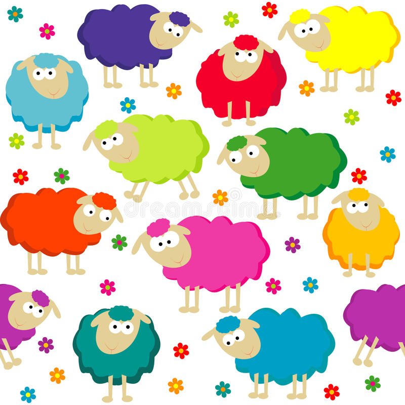 Seamless background with cute sheep stock illustration