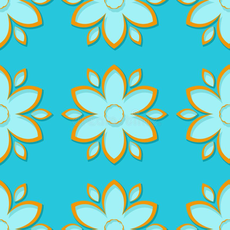 Seamless background with 3d floral blue and orange elements royalty free illustration
