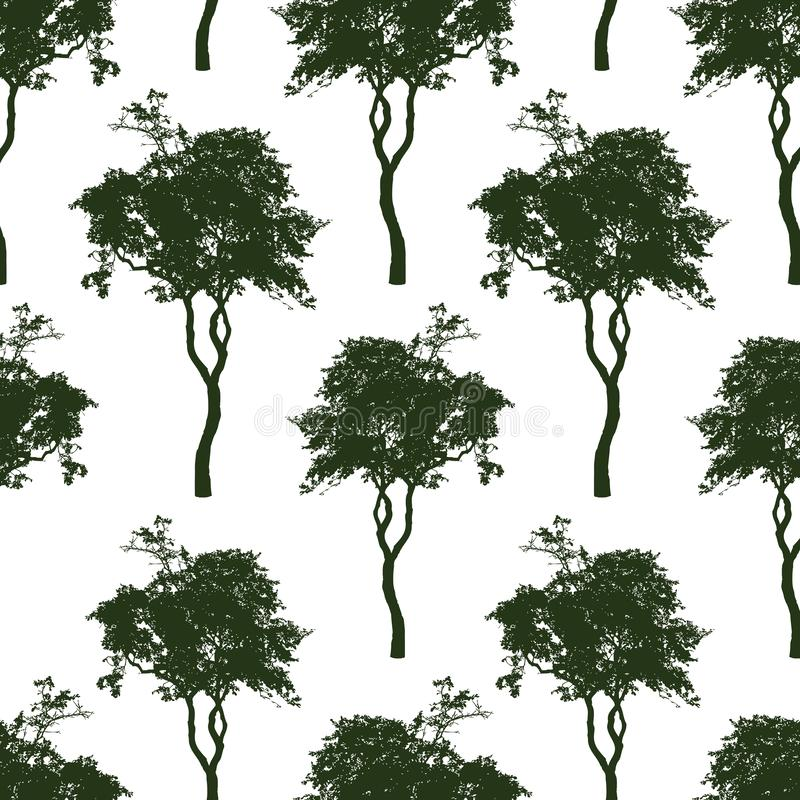 Seamless background of deciduous trees silhouettes vector illustration
