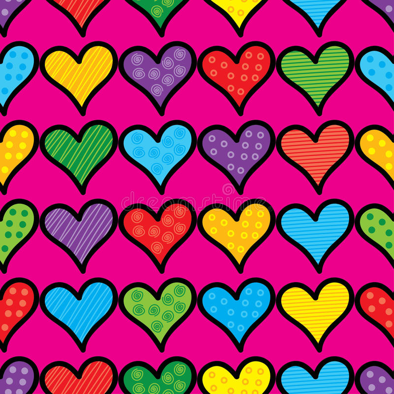Seamless background with decorative hearts and polka dots stock illustration