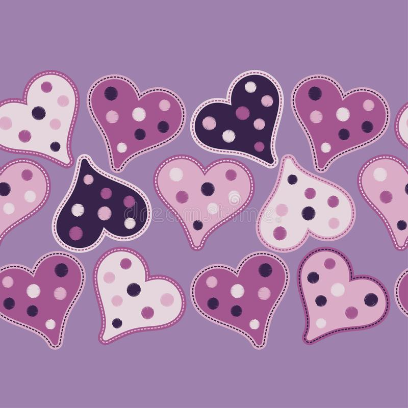 Seamless background with decorative hearts. Valentine`s day. stock illustration