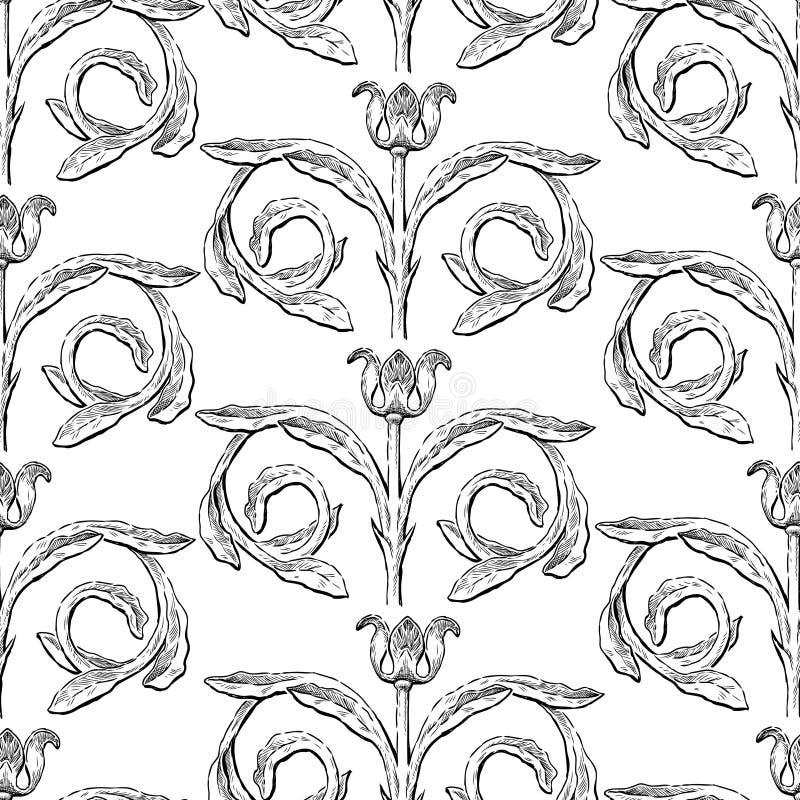 Seamless background of decorative vintage flower vector illustration