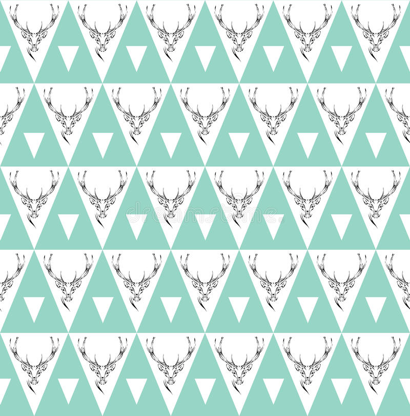 Seamless background with deer heads. ethnic ornament stock illustration
